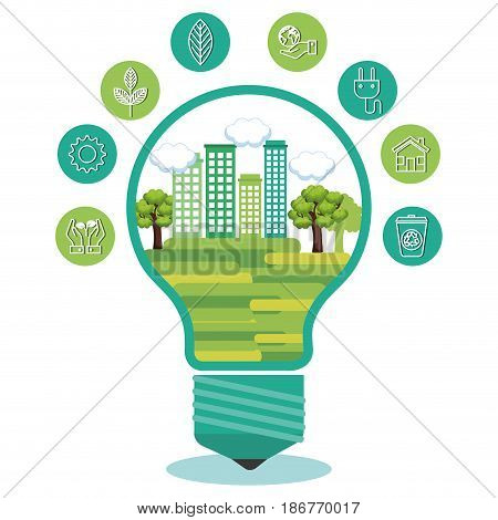 Green city design in ligh bulb surrounded by eco friendly icons over white background. Vector illustration.