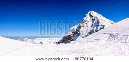 Panorama view of beautiful Snow Alps Mountain view from Jungfraujoch station Switzerland.