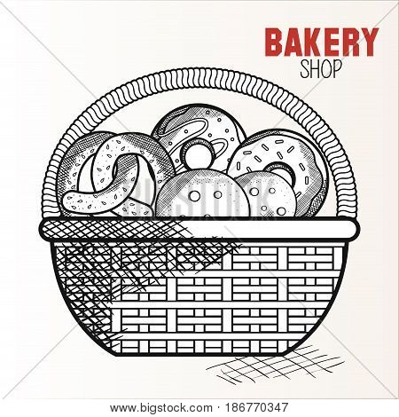 Hand drawn basket with bakery goods and bakery shop sign over white background. Vector illustration.