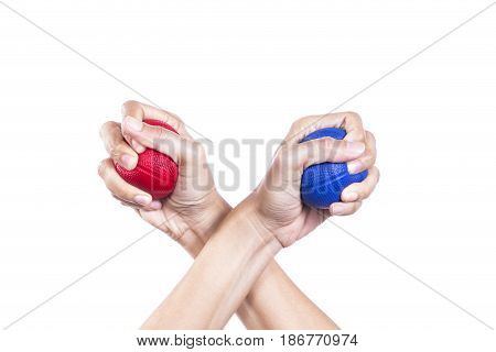stress two balls on isolated white background