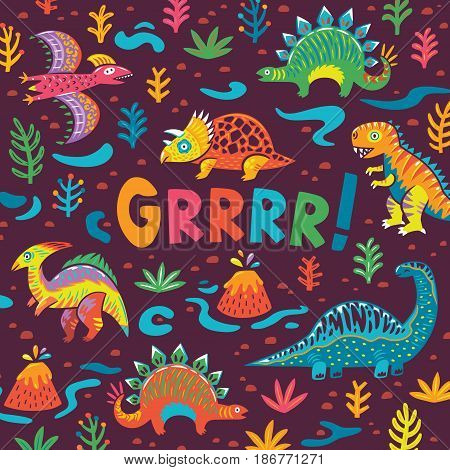 Childish card with cartoon dinosaurs in bright colors. Perfect for cards, invitations, party, banners.