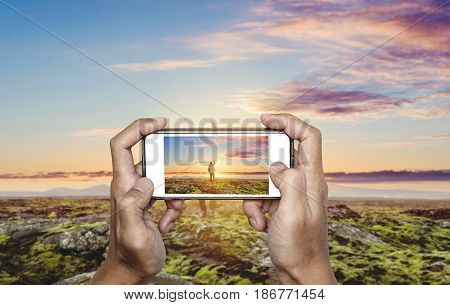 Photography by smartphone, traveling and taking photo concept
