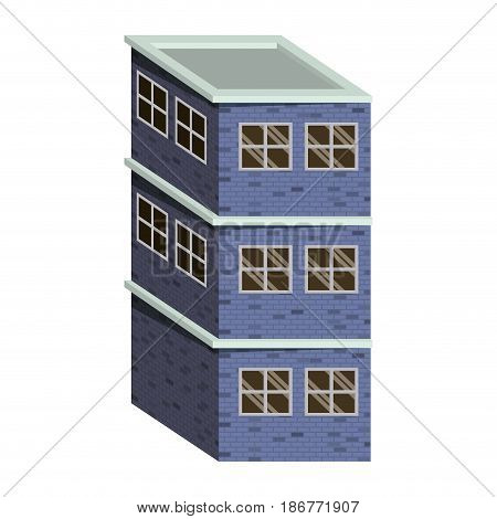 colorful image realistic building with brick facade of three floors vector illustration