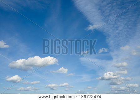 Beautiful sky with clouds. Heaven clouds flying against blue sky.