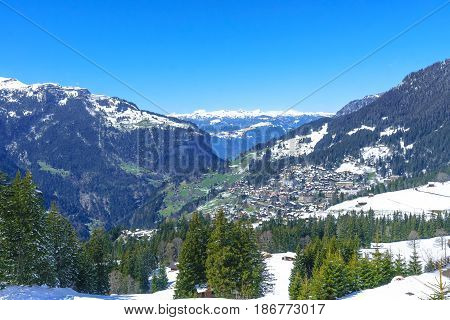 Jungfraujoch Switzerland - April 29 2017: Famous village Wengen in Switzerland Alps Mountain - The starting point for train tours in the Jungfrau region Switzerland.