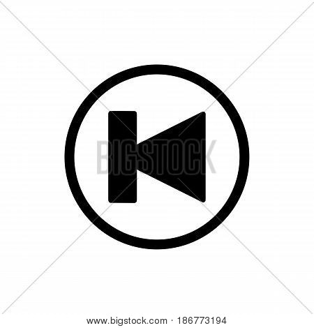 previous track button icon. Vector illustration solid on white. eps 10