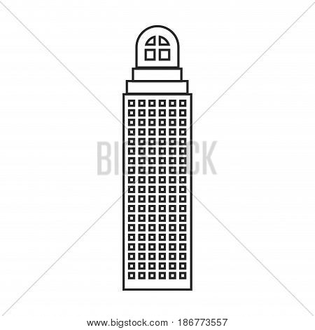 silhouette of building skyscraper with cusp window and several windows vector illustration