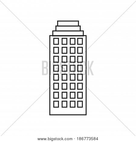 silhouette of building skyscraper with several windows vector illustration