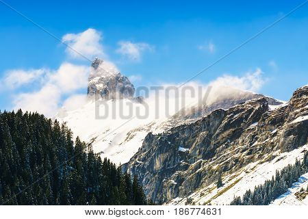 Beautiful Alps Mountain with blue sky and cloud at Jungfrau Switzerland.