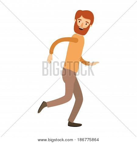 colorful image caricature full body man with beard and moustache running vector illustration