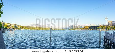 Lucerne Switzerland - April 30 2017: Beautiful lake Lucerne in afternoon bright day and beautiful mountain in a background on April 30 2017 Lucerne Switzerland.