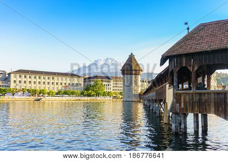 Lucerne Switzerland - April 30 2017: Historic city center of Lucerne with Famous Chapel bridge and Lake Lucerne on April 30 2017 in Lucerne Switzerland.