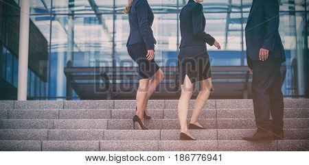 Portrait of businesspeople climbing up stairs