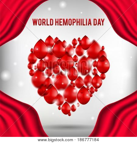 World hemophilia day, heart shape red drops falling down, realistic vector illustration, healthcare concept