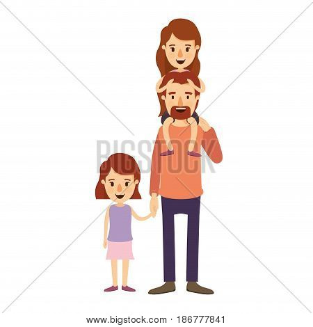 colorful image caricature dad with daugther on his back and girl taken hands vector illustration
