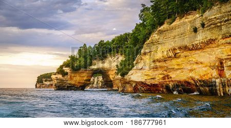 Lovers Leap rock formation at Pictured Rocks National Lakeshore on Upper Peninsula, Michigan