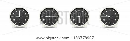 Closeup group of black and white clock with shadow for decorate show the time in 9 9:15 9:30 9:45 a.m. isolated on white background beautiful 4 clock picture in different time
