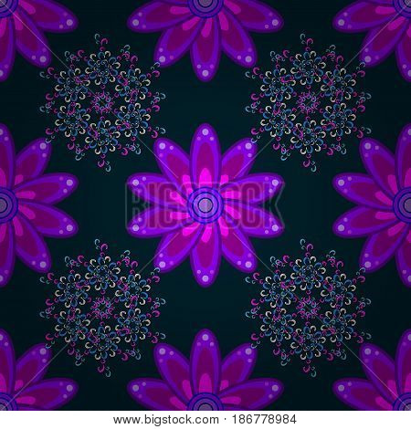 Hand drawn floral texture blue decorative flowers. Vector seamless colorful floral pattern.