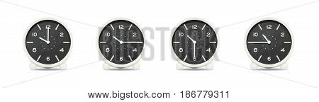 Closeup group of black and white clock with shadow for decorate show the time in 10 10:15 10:30 10:45 a.m. isolated on white background beautiful 4 clock picture in different time