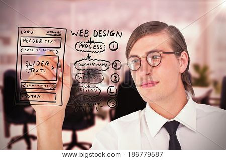 Geeky businessman writing with pen against computer graphic image of empty board room