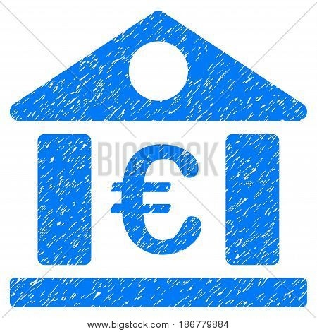 Grunge Euro Bank Museum icon with grunge design and dirty texture. Unclean vector blue pictogram for rubber seal stamp imitations and watermarks. Draft sign symbol.