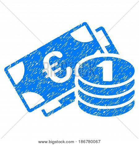 Grunge Euro Cash Money icon with grunge design and dirty texture. Unclean vector blue pictogram for rubber seal stamp imitations and watermarks. Draft emblem symbol.