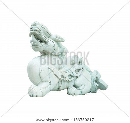 Closeup old green jade leo statue for good fortune in front of door in the temple of thailand isolated on white background