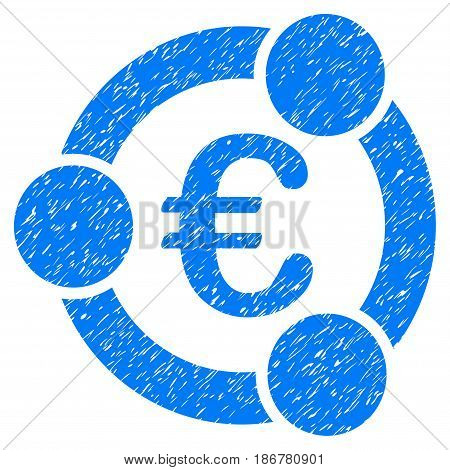 Grunge Euro Collaboration icon with grunge design and scratched texture. Unclean vector blue pictogram for rubber seal stamp imitations and watermarks. Draft emblem symbol.