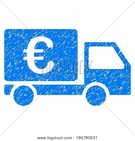 Grunge Euro Collector Car icon with grunge design and dirty texture. Unclean vector blue pictogram for rubber seal stamp imitations and watermarks. Draft sticker symbol.