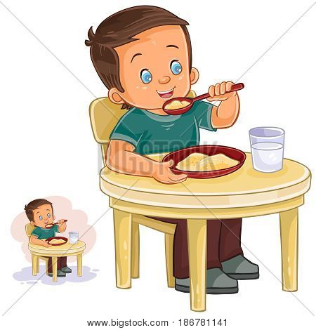 Vector illustration of a little boy eating breakfast, eating oatmeal, drinking milk. Print, template, design element
