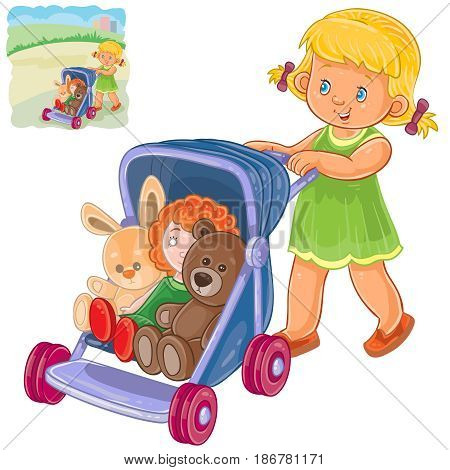 Vector illustration of a little girl rolls the stroller with her toys. Print, template, design element