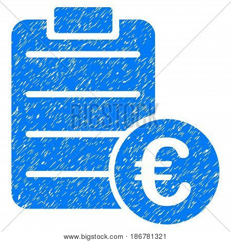 Grunge Euro Pad icon with grunge design and dust texture. Unclean vector blue pictogram for rubber seal stamp imitations and watermarks. Draft emblem symbol.