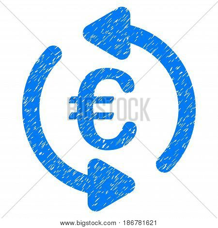 Grunge Euro Repeat Arrows icon with grunge design and scratched texture. Unclean vector blue pictogram for rubber seal stamp imitations and watermarks. Draft emblem symbol.