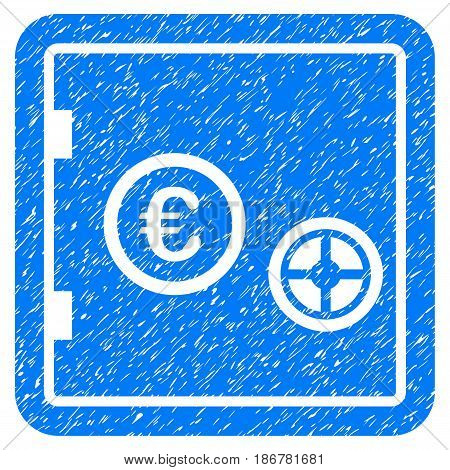 Grunge Euro Safe icon with grunge design and dust texture. Unclean vector blue pictogram for rubber seal stamp imitations and watermarks. Draft emblem symbol.