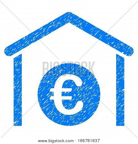 Grunge Euro Storage Garage icon with grunge design and scratched texture. Unclean vector blue pictogram for rubber seal stamp imitations and watermarks. Draft sign symbol.