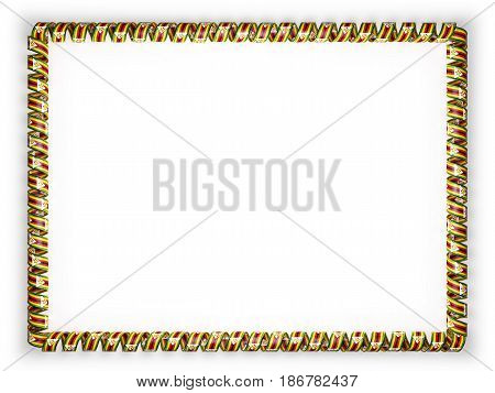 Frame and border of ribbon with the Zimbabwe flag edging from the golden rope. 3d illustration