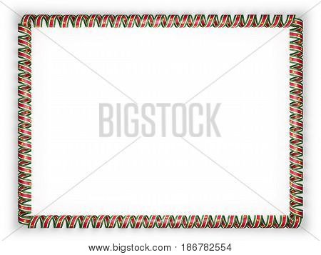 Frame and border of ribbon with the Suriname flag. 3d illustration
