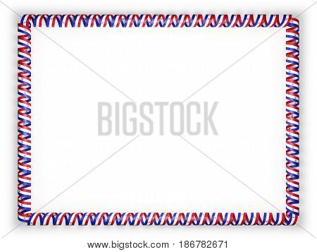 Frame and border of ribbon with the Paraguay flag. 3d illustration