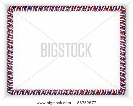Frame and border of ribbon with the Paraguay flag edging from the golden rope. 3d illustration