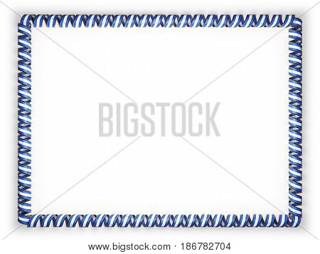 Frame and border of ribbon with the Nicaragua flag edging from the golden rope. 3d illustration