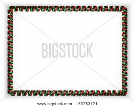 Frame and border of ribbon with the Liberia flag edging from the golden rope. 3d illustration