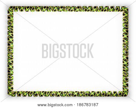 Frame and border of ribbon with the Jamaica flag edging from the golden rope. 3d illustration