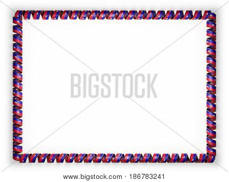 Frame and border of ribbon with the Haiti flag edging from the golden rope. 3d illustration