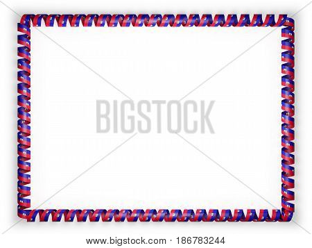 Frame and border of ribbon with the Haiti flag. 3d illustration