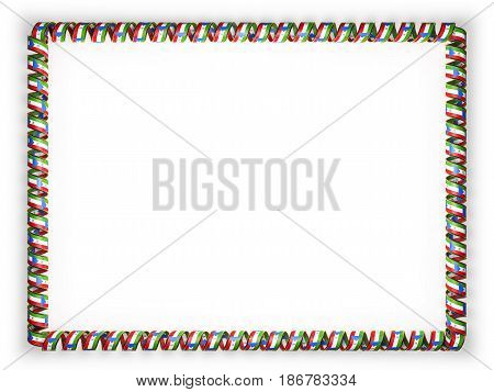 Frame and border of ribbon with the Equatorial Guinea flag edging from the golden rope. 3d illustration