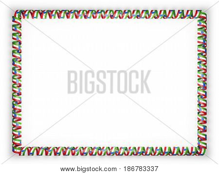 Frame and border of ribbon with the Equatorial Guinea flag. 3d illustration