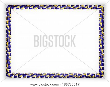 Frame and border of ribbon with the Bosnia and Herzegovina flag. 3d illustration