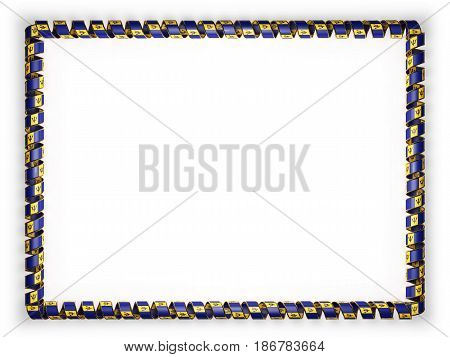 Frame and border of ribbon with the Barbados flag edging from the golden rope. 3d illustration