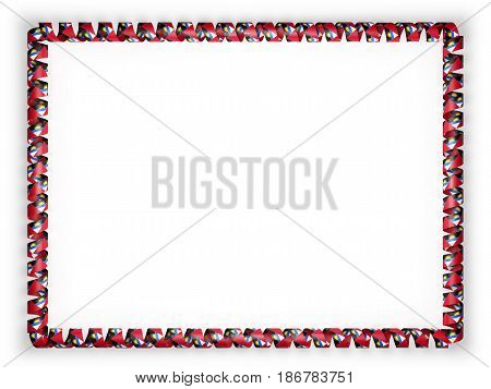 Frame and border of ribbon with the Antigua and Barbuda flag. 3d illustration