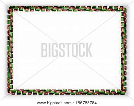Frame and border of ribbon with the Afghanistan flag. 3d illustration